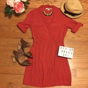 Love 21 rust faux wrap dress